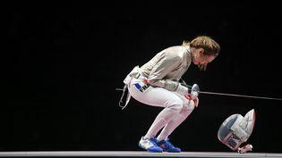 La sabreuse Manon Brunet a décroché la médaille de bronze, lundi 26 juillet 2021, aux Jeux olympiques de Tokyo. (ZHANG HONGXIANG / XINHUA via AFP)