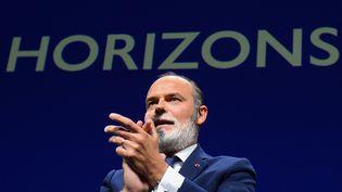 L'ancien Premieer ministre et maire du Havre, Edouard Philippe, lors du lancement de son parti Horizon, le 9 octobre 2021. (JEAN-FRANCOIS MONIER / AFP)