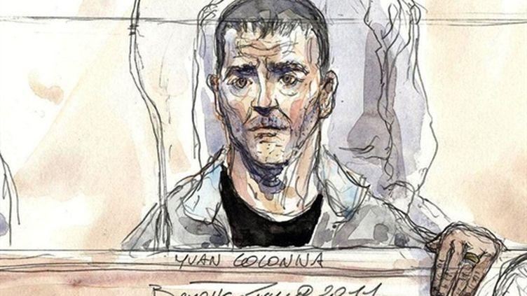 Dessin représentant Yvan Colonna lors de son procès. (AFP/BENOIT PEYRUCQ)