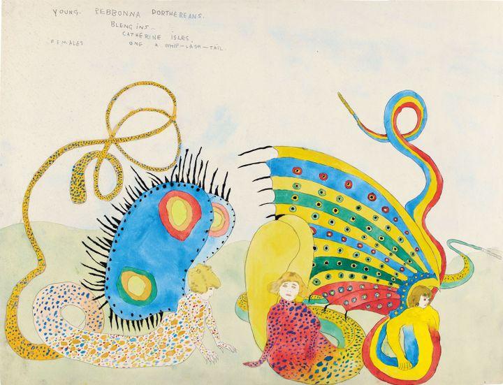 """Henry Darger, """"Jeunes Rebbonnas Dortheréens. Blengins. Iles Catherine. Femelles. L'un à queue fouetteuse""""  (Eric Emo / Musée d'Art Moderne / Roger-Viollet © 2015 Kiyoko Lerner / ADAGP, Paris)"""