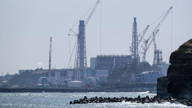 La centrale de Fukushima vue depuis la côte de Futaba, le 10 mars 2021. (KAZUHIRO NOGI / AFP)
