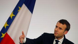 Emmanuel Macron, mardi 30 janvier 2018 au palais de l'Elysée. (PHILIPPE WOJAZER / AFP)