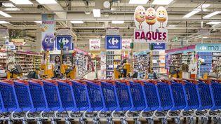 Le supermarché Carrefour àBalrauc-Le-Vieux (Hérault), le 31 mars 2018. (YANN CASTANIER / HANS LUCAS / AFP)