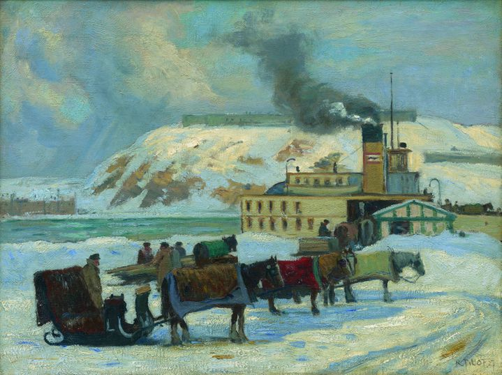 Robert Pilot. En attendant le bac. 1927. huile sur toile 46 × 61 cm. (Collection particulière, Toronto. Uberscan by Colourgenics.)