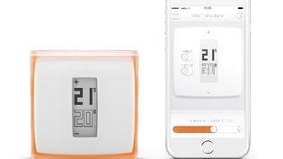 Le thermostat connecté Netatmo et l'application pour piloter son chauffage depuis un iPhone. (NETATMO)
