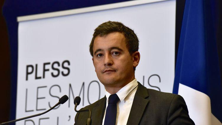 Le ministre de l'Action et des Comptes publics, Gérald Darmanin, lors d'une conférence de presse, le 28 septembre 2017, au ministère des Finances, à Paris. (PATRICE PIERROT / CITIZENSIDE / AFP)