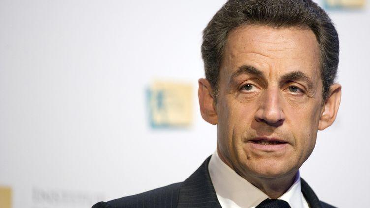 Nicolas Sarkozy, lors d'un discours de campagne devant l'Institut pour la justice, le 31 mars 2012 à Paris. (LIONEL BONAVENTURE / AFP)