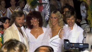 Le groupe ABBA à Stockholm (Suède), le 2 juin 1980. (JAN COLLSIOO / SCANPIX SWEDEN / AFP)