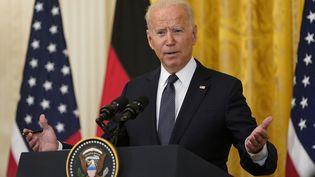 Joe Biden, lors d'une conférence de presse à Washington le 15 juillet 2021. (ALEX EDELMAN - POOL VIA CNP / CONSOLIDATED NEWS PHOTOS / AFP)