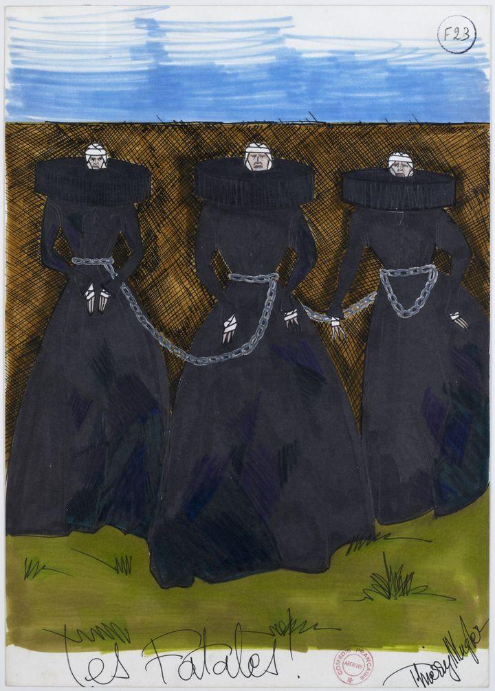 Croquis signé Thierry Mugler descostumes pourLa Tragédie de Macbeth (COLLECTIONS DE LA COMEDIE FRANCAISE.)