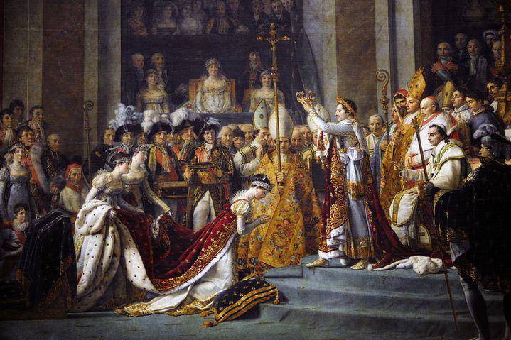 """""""Le Sacre de Napoléon"""" (exposé au Louvre) de Jacques Louis David.  (FRÉDÉRIC SOREAU / PHOTONONSTOP)"""