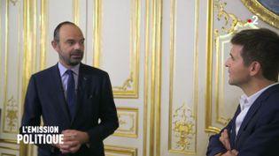 """L'Emission politique / France 2. 27 septembre 2018. """"Derrière la porte"""": Thomas Sotto reçu par Edouard Philippe (L'Emission politique / France 2)"""