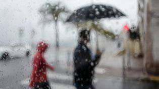 La pluie tombe à Nice (Alpes-Maritimes). Photo d'illustration. (VALERY HACHE / AFP)
