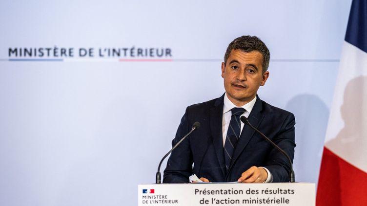 Le ministre de l'Intérieur Gérald Darmanin lors d'une conférence de presse place Beauvau, le 12 mai 2021, à Paris. (XOSE BOUZAS / HANS LUCAS / AFP)