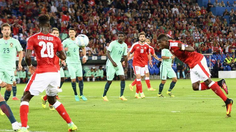 L'attaquant suisse Breel Embolo auteur du premier but face au Portugal  (JEAN-CHRISTOPHE BOTT / KEYSTONE)
