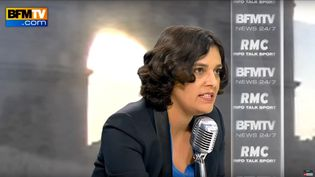 Myrima El Khomri, la ministre du Travai, sur BFMTV et RMC, le 5 novembre 2015. (BFMTV / YOUTUBE)