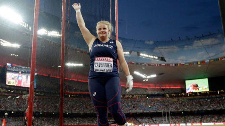(Alexandra Tavernier médaille du bronze en marteau aux championnats du monde de Pékin  © SIPA/ Lee Jin-man)