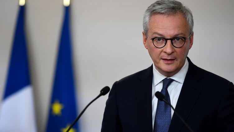 Le ministre de l'Economie, Bruno Le Marie, lors d'une conférence de presse à Paris, le 7 mai 2020. (CHRISTOPHE ARCHAMBAULT / POOL / AFP)