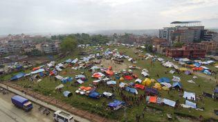 Vues du ciel de la ville de Katmandou détruite par le séisme, le 26 avril 2015 (CITIZENSIDE / THOMAS DUTOUR / AFP)