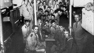 """L'équipage de """"La Minerve"""", sous-marin français disparu le 27 janvier 1968. (STF / AFP)"""