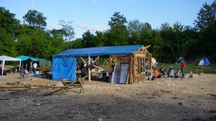 Un campement a été installé au cœur de la forêt communale de Mandres-en-Barrois, le 29 juin 2016, dans la Meuse. (JULIE RASPLUS / FRANCETV INFO)