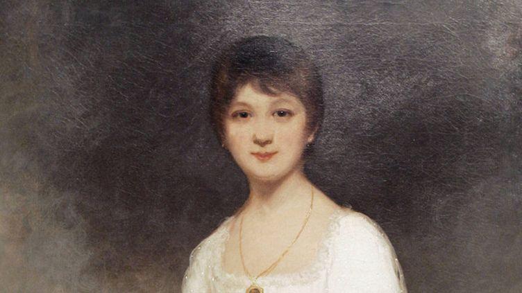 """Jane Austen (1775-1817) représentée sur un tableau de Ozias Humphry (1742-1810), """"The Rice Portrait of Jane Austen""""  (Stan Honda / AFP)"""
