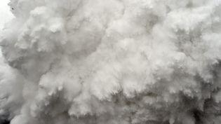 Une avalanche déclanchée par le séisme au Népal, dans les montagnes de l'Himalaya, samedi 25 avril 2015. (ROBERTO SCHMIDT / AFP)