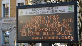Le village de Casalpusterlengo, au sud de Milan, touchée par le coronavirus Covid-19. (MIGUEL MEDINA / AFP)