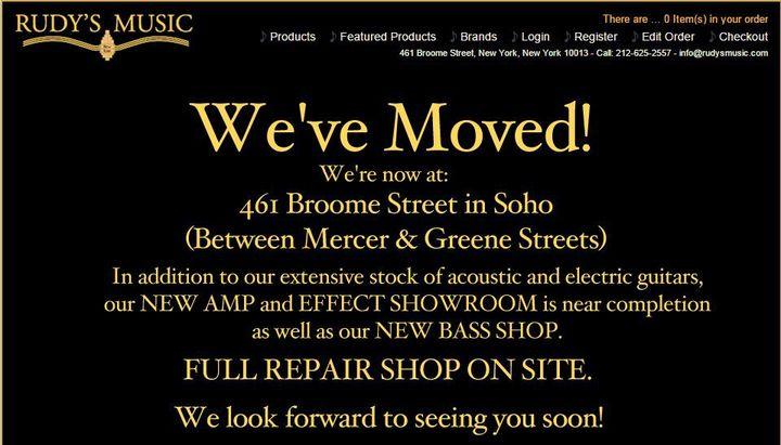 La page du site de Rudy Pensa indiquant le déménagement du magasin