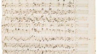 Manuscrit autographe des deux menuets pour orchestre K.164 (1301) N°5 et 6 de Wolfgang Amadeus Mozart, Salzbourg, Juin 1772. Vendu 372.000 euros le 18 novembre 2019. (SOTHEBY'S)