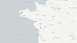La carte des lieux fouillés par les enquêteurs sur la disparition d'Orvault, le 3 mars 2017. (CARTO / FRANCEINFO)