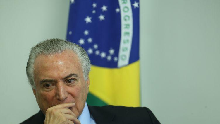Le président brésilien, Michel Temer, participe à une cérémonie, le 9 mars 2017, à Brasilia (Brésil). (DIDA SAMPAIO / ESTADAO CONTEUDO / AFP)