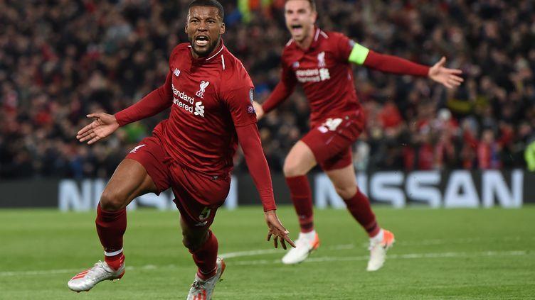 Georginio Wijnaldum célèbre son but, le troisième de son équipe, le 7 mai 2019 à Liverpool (Angleterre). (PAUL ELLIS / AFP)