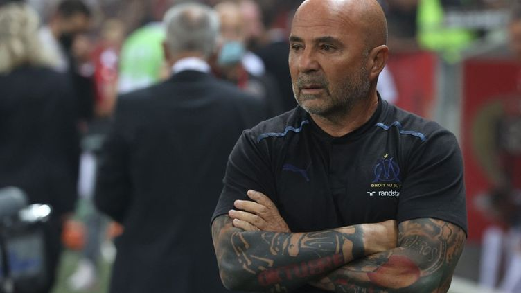 Jorge Sampaoli est revenu en conférence de presse sur les évènements intervenus lors de la rencontre entre Nice et Marseille. (VALERY HACHE / AFP)