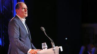 Jean Castex s'exprime lors de l'université de rentrée du MoDem à Guidel (Morbihan) le 26 septembre 2021. (MAXPPP)