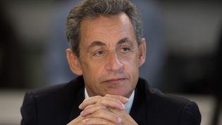 """Nicolas Sarkozy expose son programme devant la rédaction du """"Parisien"""", le 10 novembre 2016. (MATTHIEU DE MARTIGNAC / MAXPPP)"""