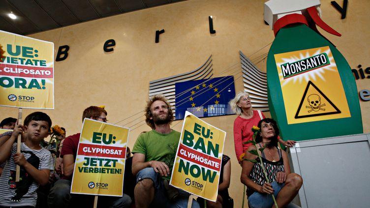Des manifestants demandent l'interdiction du glyphosate en Europe, le 19 juillet 2017, devant le siège de la Commission européenne à Bruxelles (Belgique). (ALEXANDROS MICHAILIDIS / AFP)