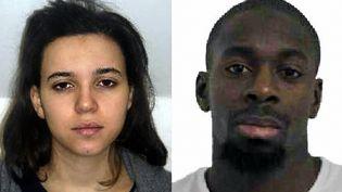 Les portraits d'Hayat Boumeddiene et Amedy Coulibaly diffusés par la police, le 9 janvier 2015. (POLICE / AFP)