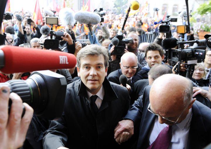 Arnaud Montebourg, alors ministre du Redressement productif, à Florange (Moselle), le 27 septembre 2012. (JEAN-CHRISTOPHE VERHAEGEN / AFP)