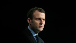 Emmanuel Macron lors d'un meeting à Reims (Marne), le 17 mars 2017. (FRANCOIS NASCIMBENI / AFP)