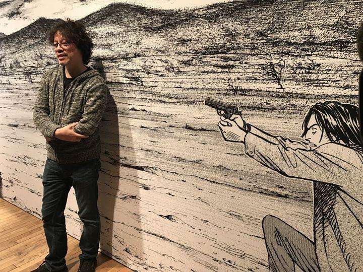 Naoki Urasawa dans l'exposition qui lui est consacrée à Angoulême  (Laurence Houot / Culturebox)