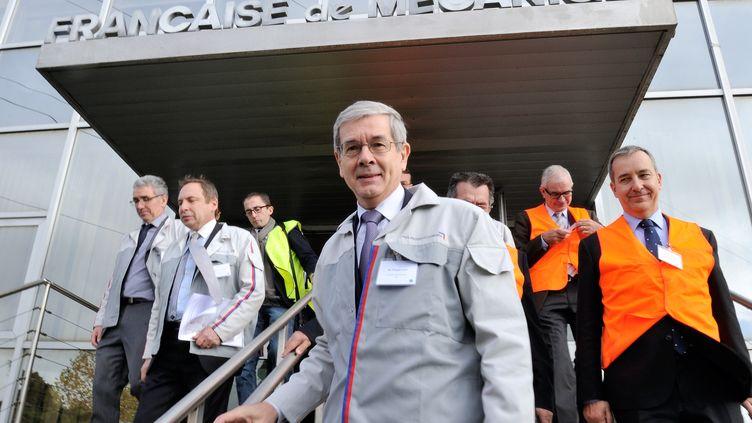 Le président du directoire de PSA, Philippe Varin, le 29 octobre 2013 à Douvrin (Pas-de-Calais), pour l'inauguration d'une chaîne d'assemblage. (PHILIPPE HUGUEN / AFP)