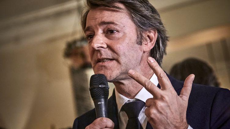 L'ancien ministre François Baroin lors d'un meeting de la candidate à la mairie de Paris Rachida Dati, le 25 février 2020. (ANTONIN BURAT / HANS LUCAS / AFP)