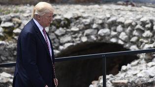 Donald Trump, le 26 mai 2017, à Taormina, en Sicile. (MIGUEL MEDINA / AFP)