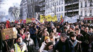 Manifestation contre la réforme des retraites, le 29 janvier 2020, à Paris. (NOEMIE COISSAC / HANS LUCAS / AFP)