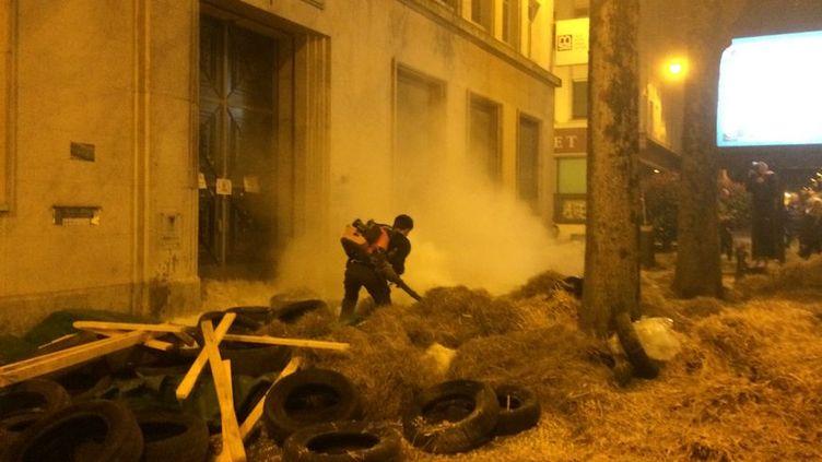 Devant la MSA de Pau, les manifestants ont recouvert le sol de plumes de canards et de paille. (RADIO FRANCE/MARGAUX STIVE)