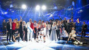 Les qualifiés pour la finale de l'Eurovision après la première demi-finale, mardi 14 mai 2019 à Tel Aviv (Israël). (HENRIK MONTGOMERY / TT NEWS AGENCY)