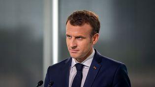 Emmanuel Macron lors d'une visite à Montréal (Québec), le 7 juin 2018. (DAVID HIMBERT / HANS LUCAS / AFP)