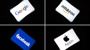 Les logos des GAFA (Google, Amazon, Facebook et Apple). (LIONEL BONAVENTURE / AFP)