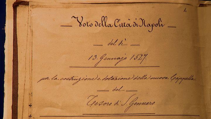 Contrat passé entre les Napolitains et San Gennaro en 1527. (CAPTURE D'ÉCRAN FRANCE 3 / MAUFFREY François-Xavier)